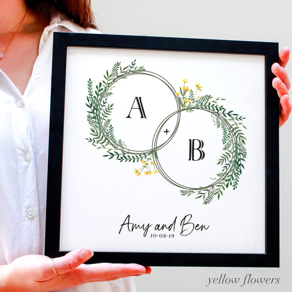 Personalised Wedding Floral Hoops Framed Print