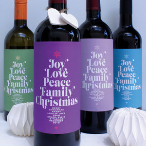 personalised christmas wine labels for family
