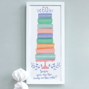 personalised lavender 60th birthday cake print, white frame