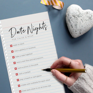 date night print with hearts gift, hand writing
