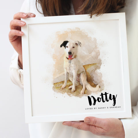 Personalised Watercolour Dog Portrait Framed Print