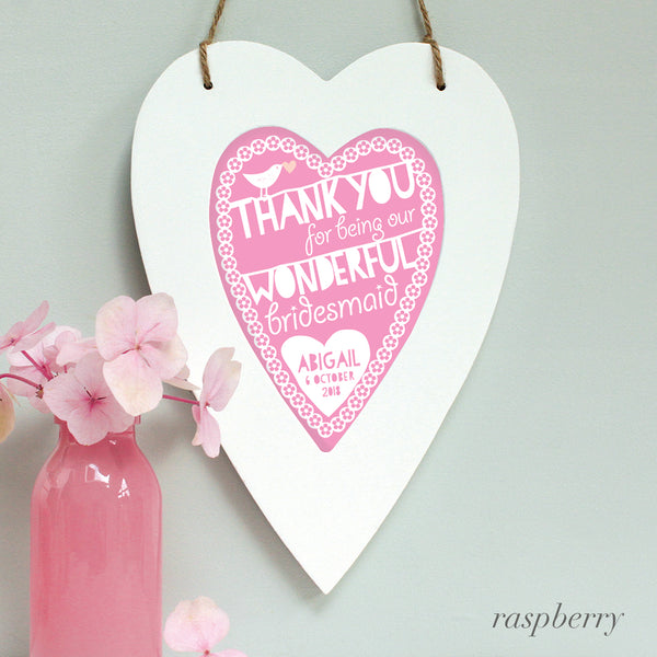 personalised raspberry flower girl print, white heart