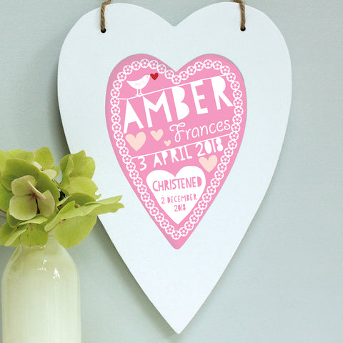 personalised raspberry christening print, white heart frame