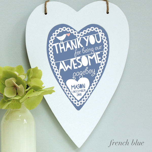 personalised french blue flower girl print, white heart