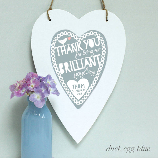 personalised duck egg blue flower girl print, white heart