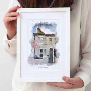 Personalised Watercolour New Home Framed Print