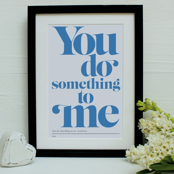 personalised favourite song print, blues