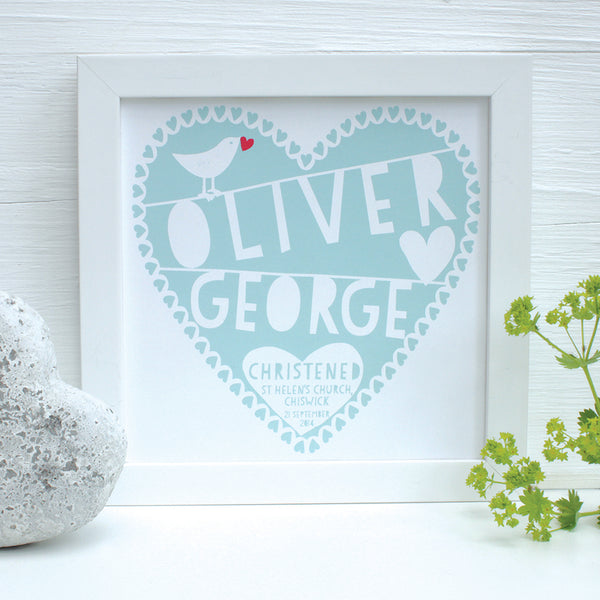 personalised duck egg christening heart print, white frame