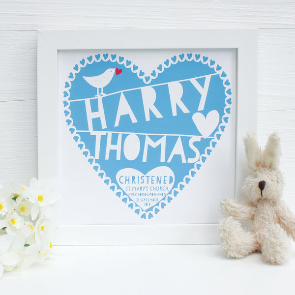personalised turquoise christening heart print, white frame