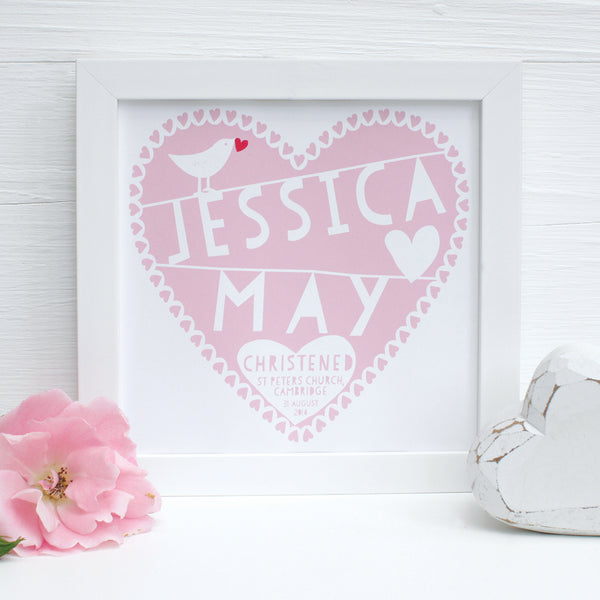 personalised blush christening heart print, white frame