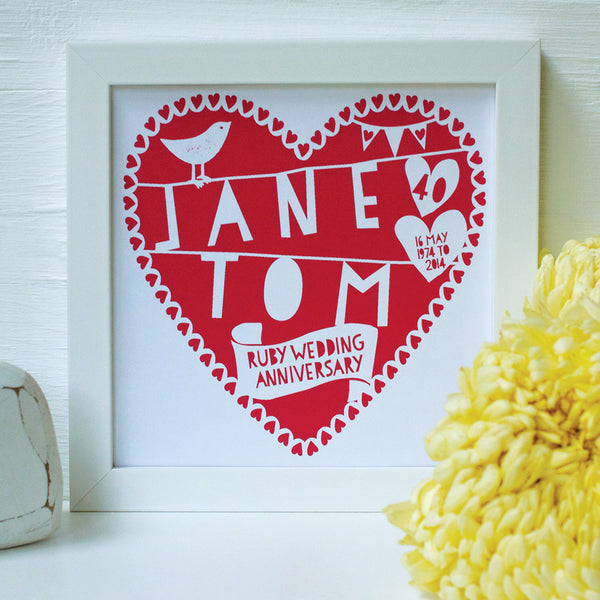personalised ruby red anniversary print, white frame