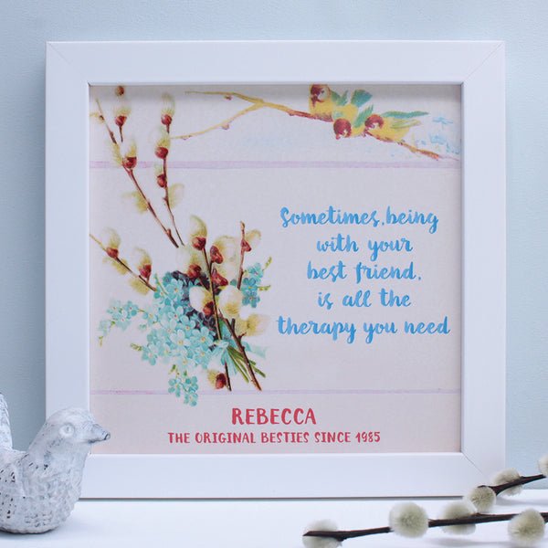 personalised friend two little birds quote print