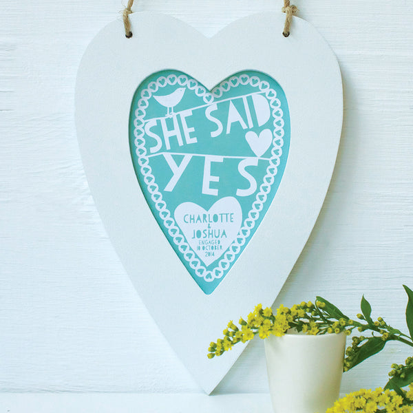 personalised aqua engagement print, white heart frame