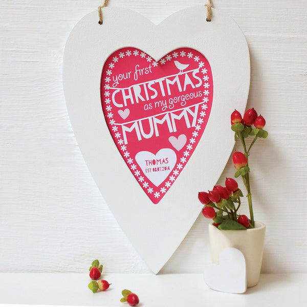 personalised coral daddy 1st christmas, white heart frame