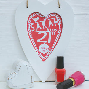 personalised coral 21st birthday print, white heart frame
