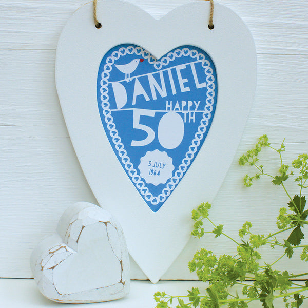 personalised french blue 50th birthday print, white heart frame