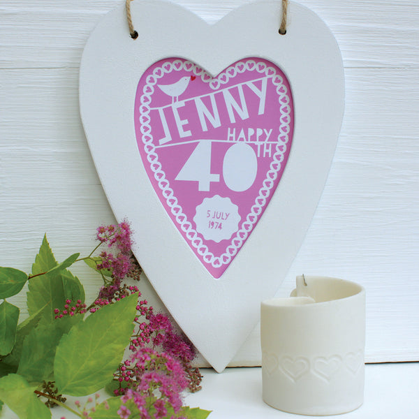 personalised raspberry 40th birthday print, white heart frame