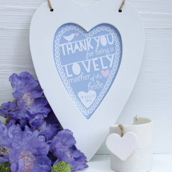 personalised mother of the bride heart, powder blue