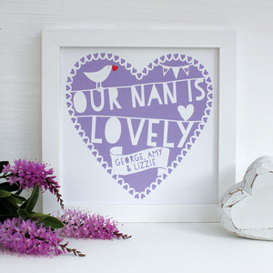 personalised lovely nan print, orchid