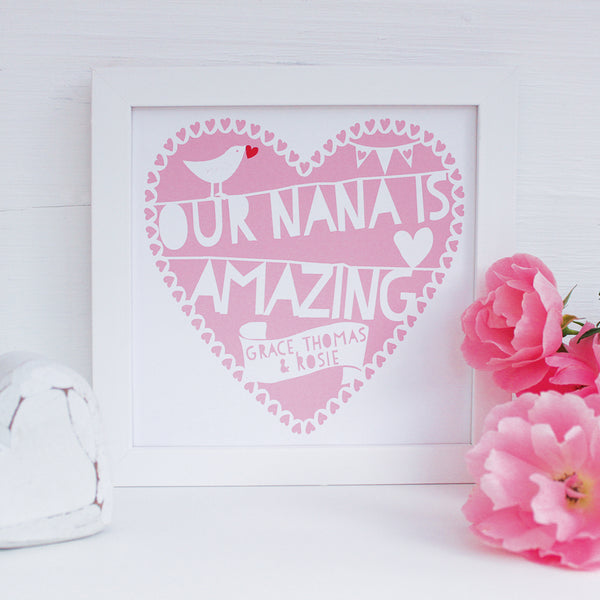 personalised amazing nana print, raspberry