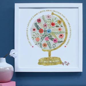 Personalised Nanny And Grandchildren World Print
