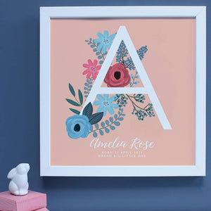 personalised New Baby framed print, large A with floral decoration in a white frame