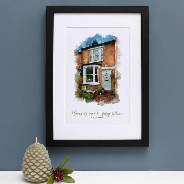 new home cottage portrait black frame