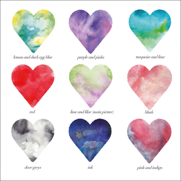 9 coloured heart swatches