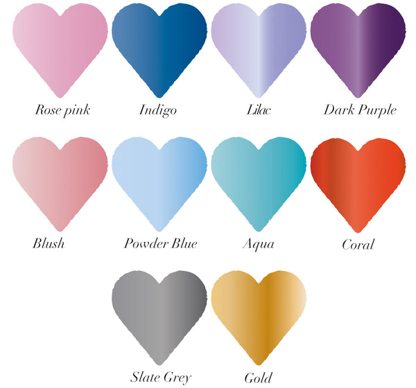 10 coloured heart swatches