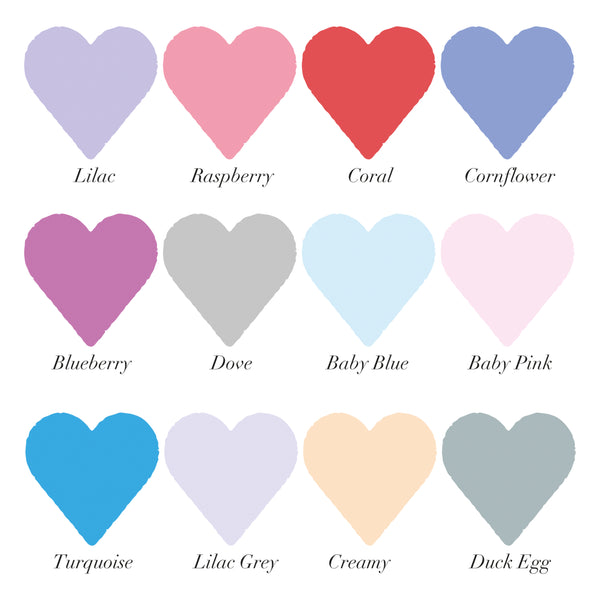 12 coloured heart swatches