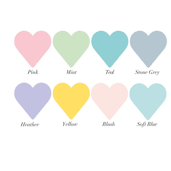 8 coloured heart swatches