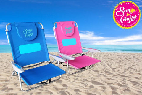Sun In Comfort Sand Chair on Beach with logo