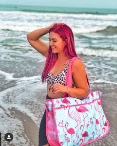 Flamingo or Nautical Oversize Beach Tote Bag that slides over your chair