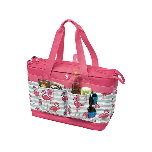 2 Compartment Tote Cooler - Flamingo Stripe