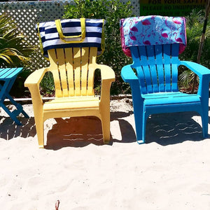Nautical Beach Tote Bag that slides over the back of the Ladies Beach Lounger Chair
