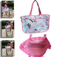 Load image into Gallery viewer, Flamingo or Nautical Oversize Beach Tote Bag that slides over your chair