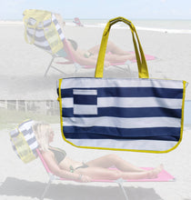 Load image into Gallery viewer, Nautical Beach Tote Bag that slides over the back of the Ladies Beach Lounger Chair