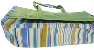Beach Tote Bag One Of A Kind Made In The USA slides over the back of the Ladies Beach Lounger Chair