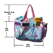 Load image into Gallery viewer, measurements of the beach tote bag