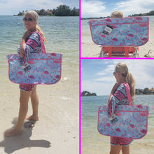 Load image into Gallery viewer, model holding the tote beach bag