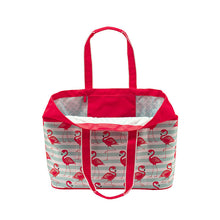 Load image into Gallery viewer, Oversized Beach Tote - Flamingo Stripe