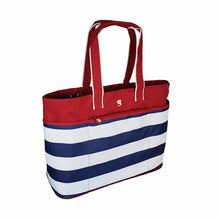Load image into Gallery viewer, Oversized Beach Tote - Red/White/Blue Stripe