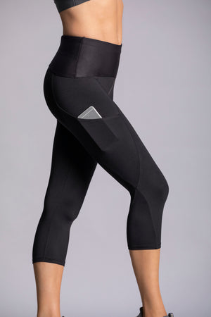 Black style - High waist capri tights with side pocket