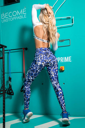 HIT blue - High waist tights - Macaw Activewear