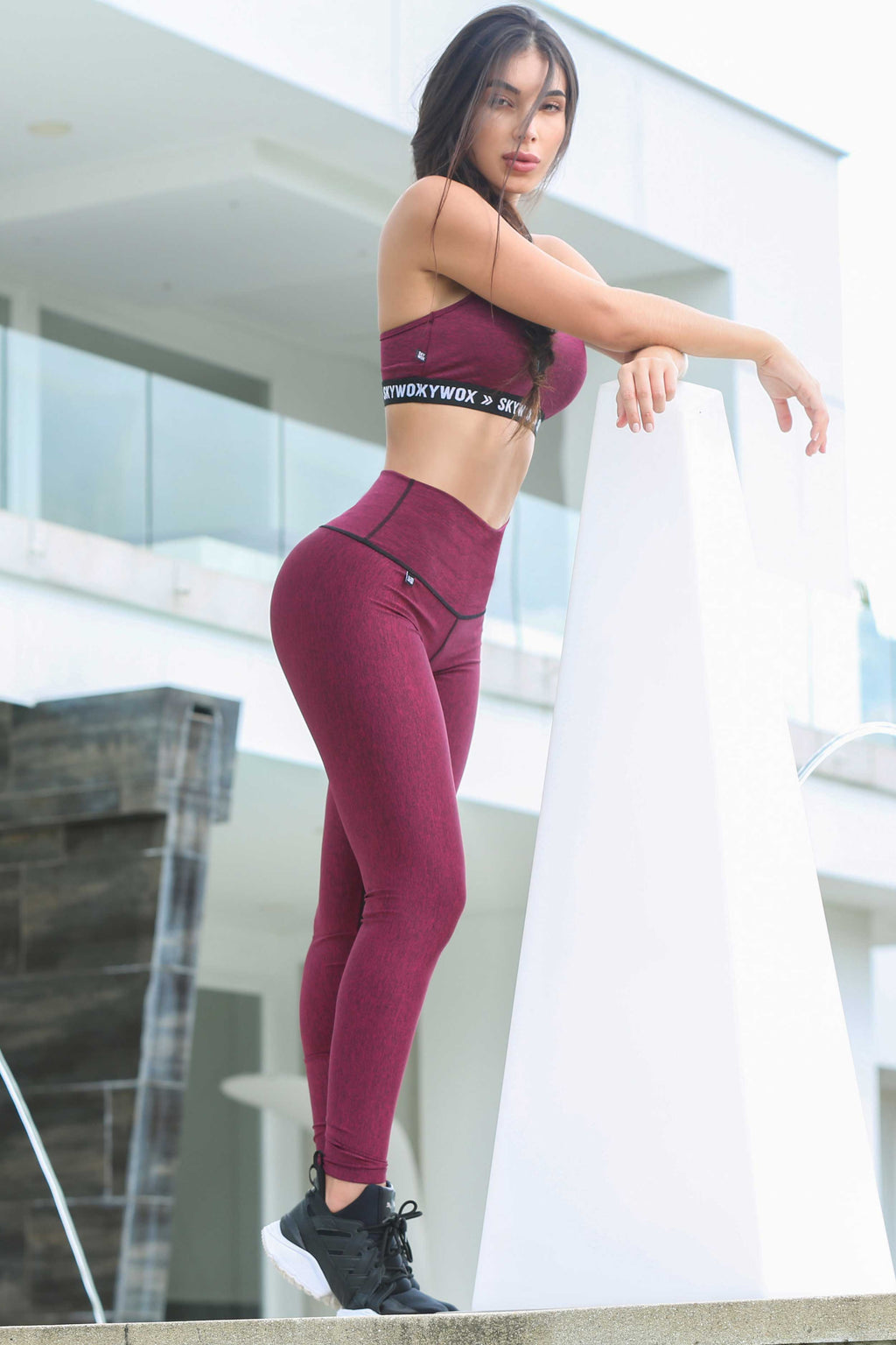 Jasper Red - High waist tights - Macaw Activewear