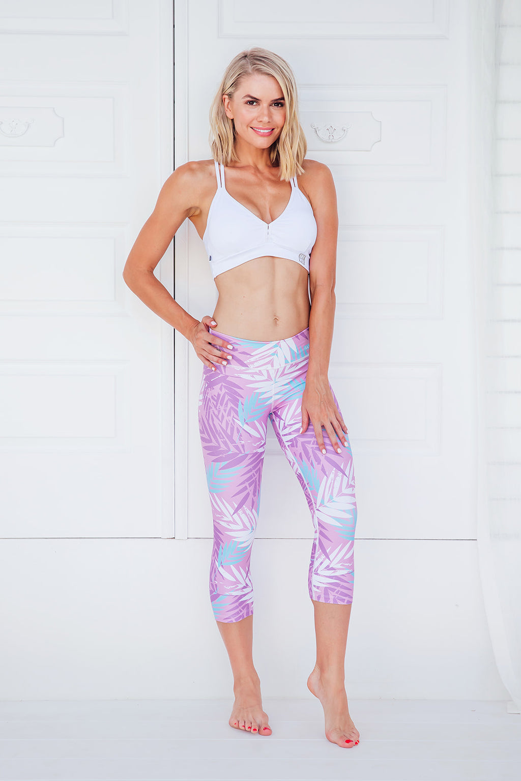 Summer Leaves - Standard waist capri tights - Macaw Activewear