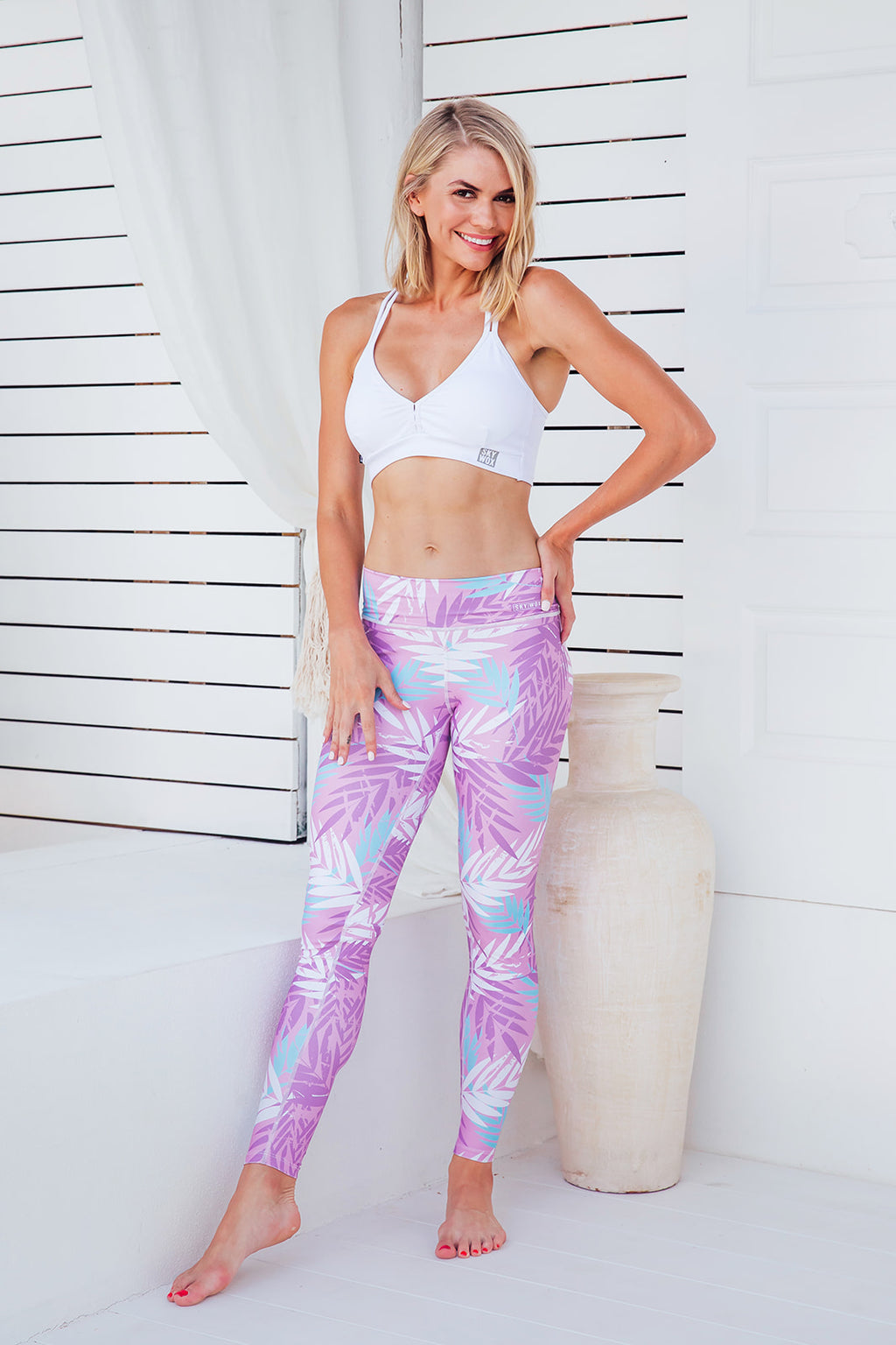 Summer Leaves - Standard waist tights - Macaw Activewear