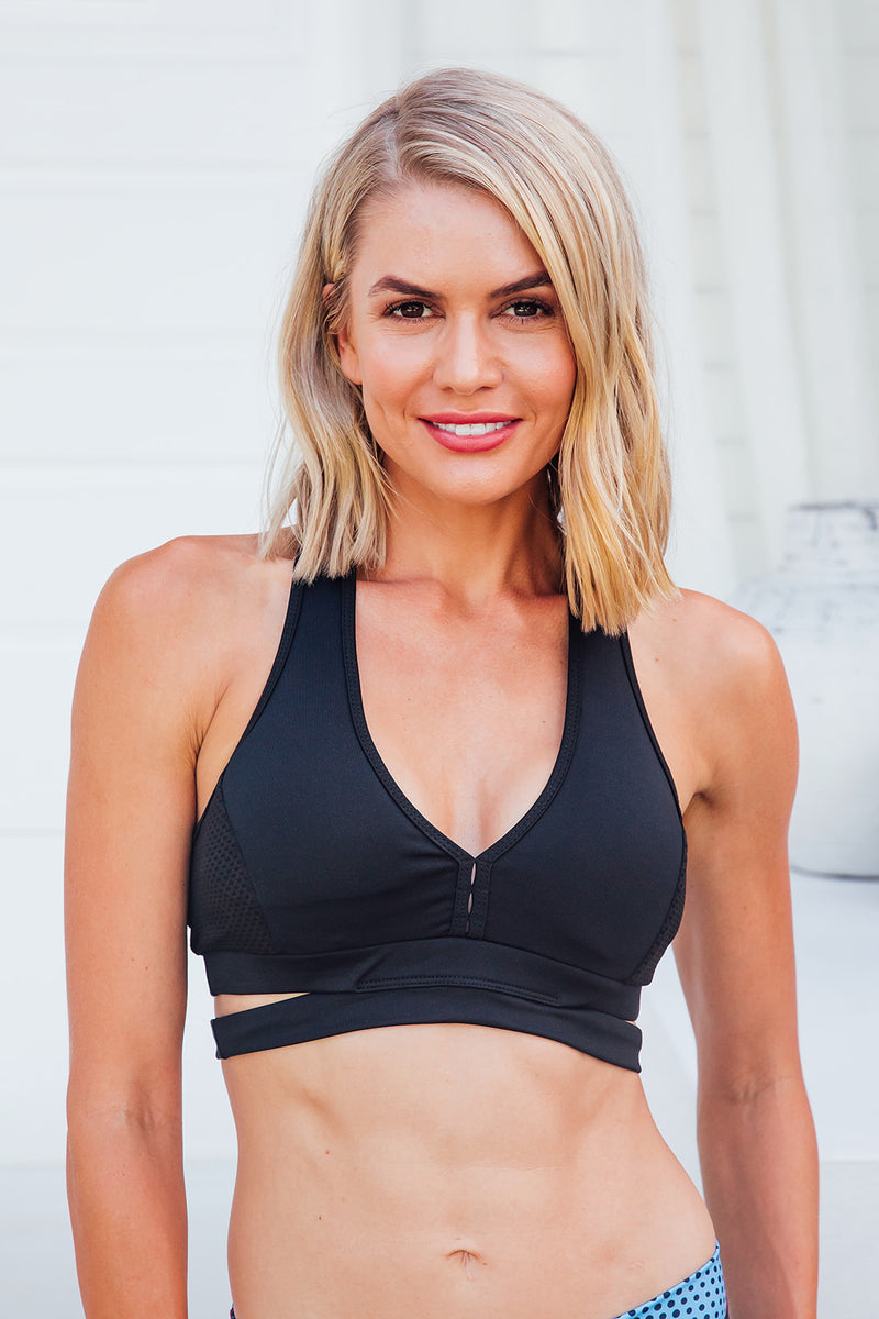 Luxe Black - Sports bra - Front facing