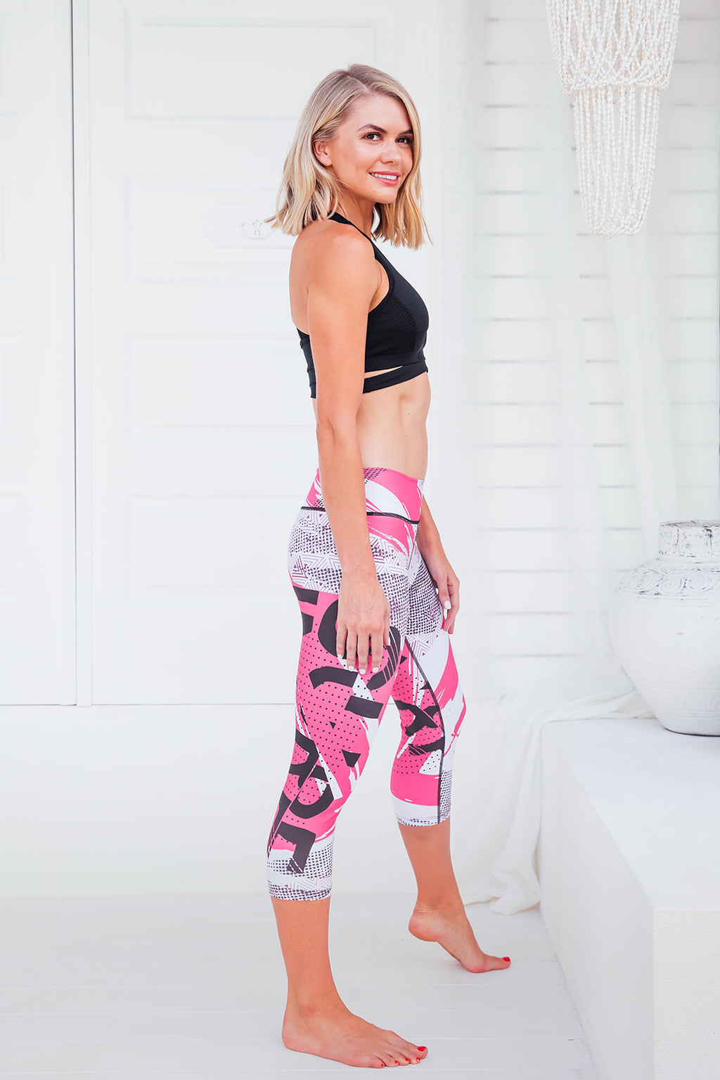 Hot Pink - Capri standard and high waist tights - Macaw Activewear