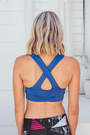 Intense Blue - Sports bra - Back facing